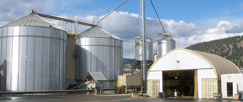 silos and storage shed