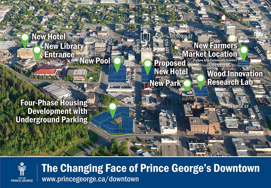 Aerial view of downtown Prince George.