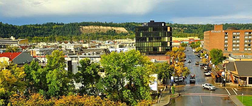 Downtown PG from City Hall looks west down George Street towards the Wood Innovation and Design Centre and the Cutbanks beyond.