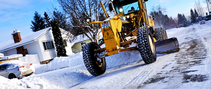 City of Prince George crews clear snow from a residential street