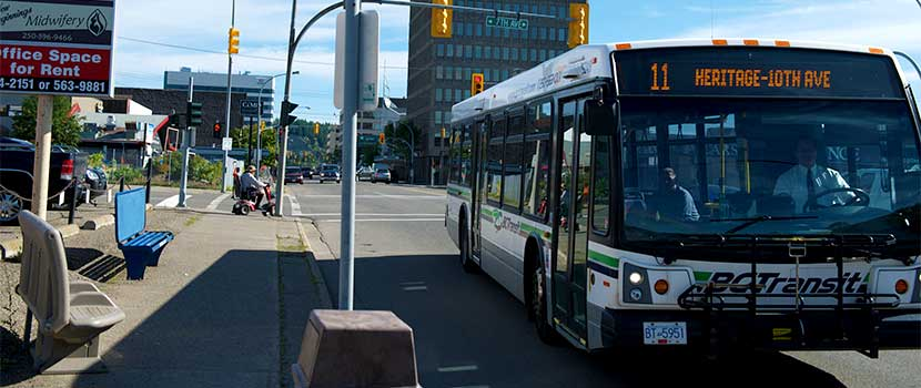 BC Transit bus picking up passengers
