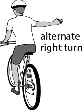 Cyclist alternate right turn hand signal