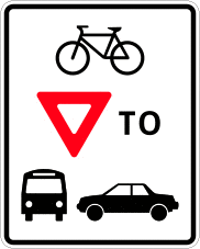 Cyclist yield to traffic symbol