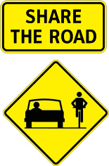 Bike and vehicle share the road sign