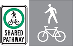 Shared Pathway sign and symbol on paved trail