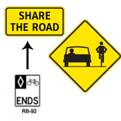 Shared roadway ends transition sign