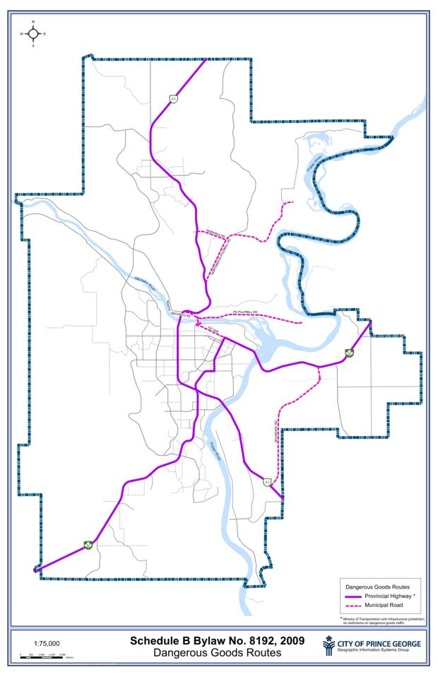 A map of the Dangerous Goods Routes in Prince George