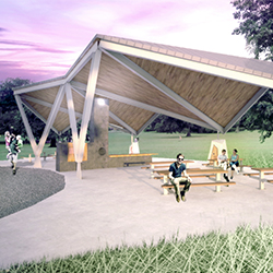 A render of Lhedli T'enneh Memorial Park Pavillion