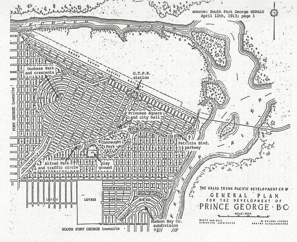 Brett, Hall and Co.'s plan for the town of Prince George 1913