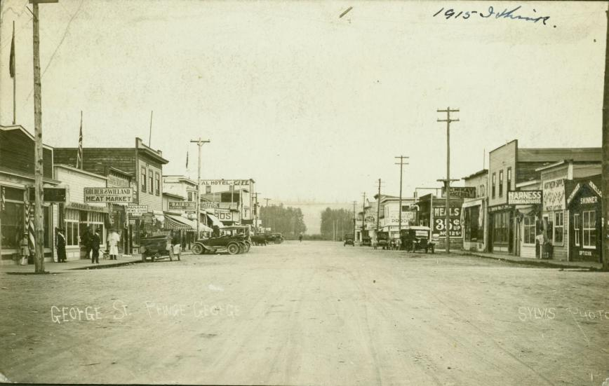 The town of Prince George's George Street in 1915
