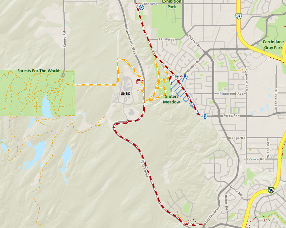 UNBC Connector Trail map