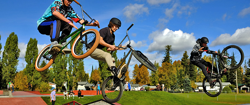 Bikers and boarders alike enjoy Prince George's skate parks, including this one at Corporal Darren Fitzpatrick Bravery Park
