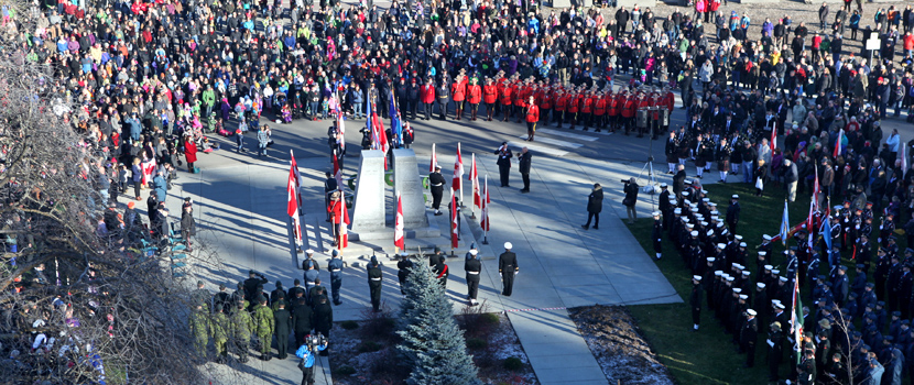 Located in front of City Hall, Veterans Plaza annually hosts the City's Remembrance Day event